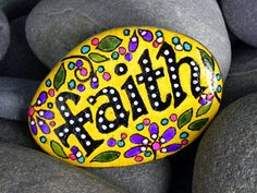 """Faith"" Painted Stone by Sandi Pike Foundas / Cape Cod, via Etsy. Pebble Painting, Dot Painting, Pebble Art, Stone Painting, Stone Crafts, Rock Crafts, Hand Painted Rocks, Painted Stones, Painted Pebbles"