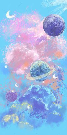Cloud Planet Watercolor Cosmic Mobile Phone Wallpaper