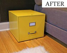 A file box is a very useful piece for any home. And, as it happens with any piece of furniture and accessory, the file box needs to harmoniously integrate Painted File Cabinets, Filing Cabinets, Diy Nightstand, Mellow Yellow, Mustard Yellow, Painted Furniture, Furniture Refinishing, Diy Furniture, Wood Crafts