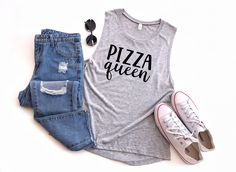 It's always the perfect time to show the world that you are the true queen of pizza! If you're looking for the perfect gift for the pizza lover in your life this is the tank you need! Never Grow Up, Shirt Mockup, Top Gifts, Muscle Tanks, Best Friend Gifts, Sweater Shirt, Bella Canvas, Overall Shorts, Custom Clothes