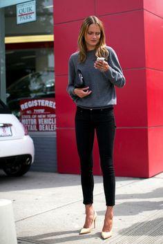 Model-Off-Duty: Karmen Pedaru | Sweater + Heels In NYC (via Bloglovin.com )