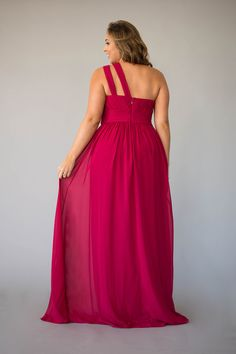 The one-shoulder design makes it easy for you to complete your bridesmaid duties while looking chic and fresh. Berry Bridesmaid Dresses, Bridesmaid Duties, Affordable Bridesmaid Dresses, Jordan Dress, Jordans, One Shoulder, Formal Dresses, Chic, Lady