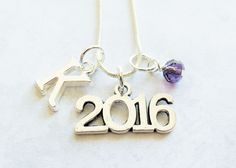 Class of 2016 Necklace, 2016 Charm Necklace, Silver 2016, Pendant, Initial Charm, Birthstone, Personalized, Senior 2016, Graduation Gift by AdorablyCharming on Etsy https://www.etsy.com/listing/245414707/class-of-2016-necklace-2016-charm