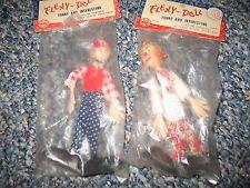 2 Vintage Marx Flexy Doll Clown People brand new bagged!