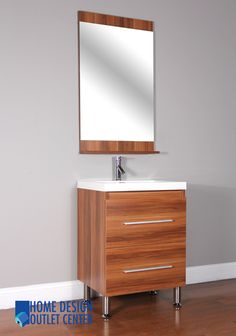 This small bathroom vanity comes with popup drain assembly system. Moreover, self closing doors and side cabinets are included in it. A beautiful mirror comes along with this vanity too.
