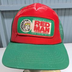 d757ff5818c VTG Red Man Chewing Tobacco OLD Rare Color Snapback Baseball Cap Hat  Wadsworth Vintage Patches