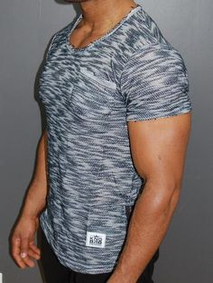 K&B Men Fuzz Pocket Side Zip T-shirt - Navy