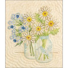 Crabapple Hill Studio- Farm Stand Bouquet Pattern with Cosmos thread kit Shirt Embroidery, Crewel Embroidery, Cross Stitch Embroidery, Embroidery Patterns, Quilt Patterns, Simple Embroidery, Embroidered Quilts, Crabapple Hill, Crochet