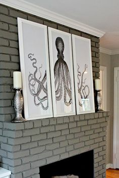 Octopus picture over fireplace