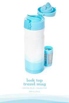 This cool blue travel mug has a flip-open lid with a lock to prevent leaks.
