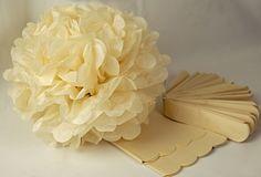 """Tissue Paper Pom Poms 16"""" Beige (Pack of 4)"""