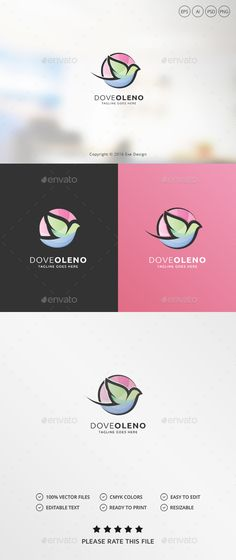Dove Logo by Exe-Design •Logo Template 100 •Re-sizable vector 100 •Editable text Easily customizable colors AI & EPS documents •For any modification do