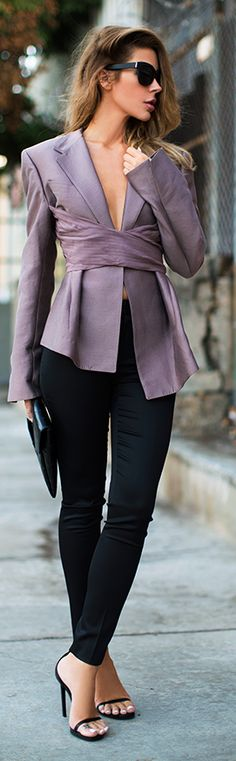 Givenchy Purple Retro Inspired Belted Jacket by