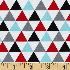Remix Triangles Celebration Aqua/Red from @fabricdotcom  Designed by Ann Kelle for Kaufman Fabrics, this cotton print fabric is perfect for quilting, apparel and home décor accents. Colors include black, white, grey, red and aqua.