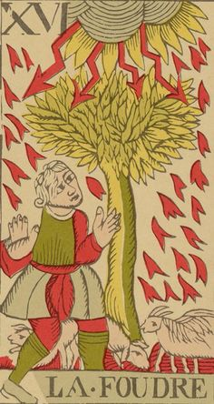 Lightning (The Tower) - Vandenborre Bacchus Tarot (Tarot Flamand de 1780)