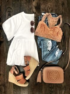 IG: @mrscasual | White peplum top, lace bralette, jeans, wedges, & Gucci bag