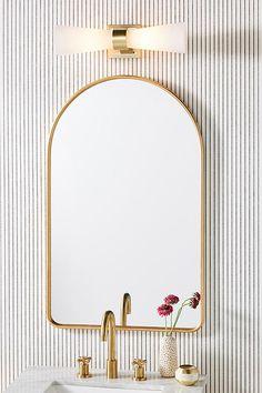 Ingram Vanity Sconce by Anthropologie in White, Lighting Bathroom Sconces, Bathroom Light Fixtures, Bathroom Vanity Lighting, Bathroom Kids, Downstairs Bathroom, Bathroom Inspo, Bathroom Wallpaper Inspiration, Bathroom Lights Over Mirror, French Bathroom