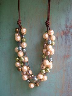Crochet pearl necklace with leather - Bubbly - Bohemian jewelry, holiday statement necklace multi strand, olivine, cream, bronze blue on Etsy, $72.00