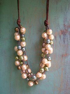 Crochet pearl necklace leather Bubbly bib by 3DivasStudio