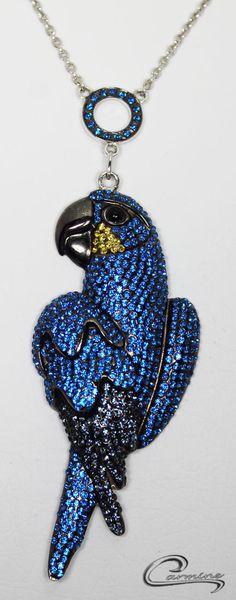 Coleção Aves Preciosas  Arara Azul em rodio Negro