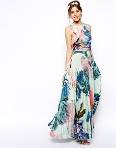 Asos Salon Pleated Crop Top Maxi Dress