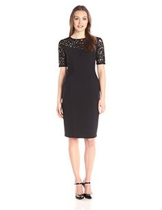 Adrianna Papell Women's Structured Seam Detail Sheath with Lace Yoke, Black, 8