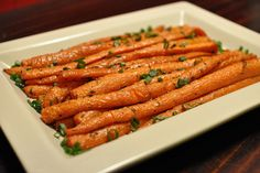 Pioneer Woman's recipe for baked carrots. Coat carrots with olive oil and sprinkle with thyme, salt & pepper. Bake on sheet pan 400* for 35-40 minutes.