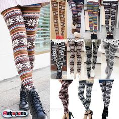 New Women's Nordic Deer Snowflake Knitted Leggings Tights Pants | eBay Warm Leggings, Tight Leggings, Winter Leggings, Knit Leggings, Sweaters And Leggings, Black Leggings, Sweater Tights, Ugly Sweater, Knitted Tights