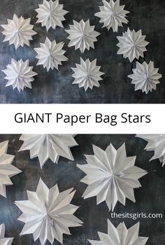 Perfect for party decorations any time of the year - giant paper bag stars. Mix and match colors to make a stunning feature wall for your next party, or hang your paper stars from the ceiling. Diy Paper Bag, Paper Bag Crafts, Diy And Crafts, Crafts For Kids, Paper Bag Puppets, Papier Diy, Origami Tutorial, Origami Instructions, Diy Décoration