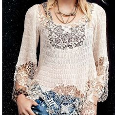 Rare Crochet Tunic Cream crochet blouse from Free People. Rare. Comfy and lightweight, perfect for upcoming Spring time layering! Free People Tops Tunics