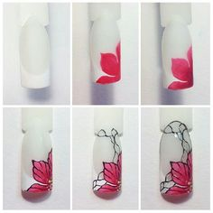 Beautiful one stroke flower nail art