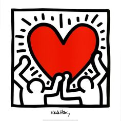 Lithograph offset poster by Keith Haring in excellent condition. Published by LEM Art Group for Estate Keith Haring. Keith Haring Kids, Keith Haring Heart, Keith Haring Prints, Keith Haring Poster, Posca Marker, Graffiti, Wallpaper Wall, Haring Art, Pop Art Artists