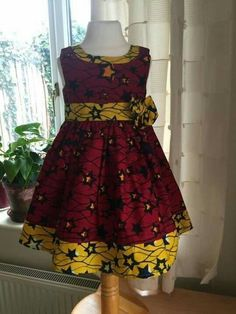 Red and yellow star patterned ankara dress by Shakarababies Ankara Styles For Kids, African Dresses For Kids, Latest African Fashion Dresses, African Print Dresses, Dresses Kids Girl, African Print Fashion, Kids Dress Wear, Kids Gown, African Attire
