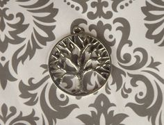 Round Tree Tag Antique Silver Plated Charms by Deannassupplyshop, $2.00