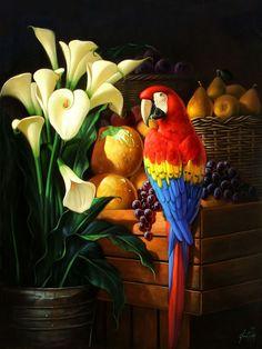 Znalezione obrazy dla zapytania olga and alexey drozdov Parrot Image, Parrot Painting, Japanese Tattoo Art, Bird Artwork, Mexican Art, Colorful Birds, Wildlife Art, Art Sketchbook, Beautiful Paintings