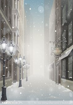 Snowy Christmas Streetlights and Buildings Backdrop / Holiday Winter Background, Christmas Background, Paper Background, Editing Background, Christmas Photography Backdrops, Christmas Backdrops, Studio Background Images, Poster Background Design, Wattpad Background