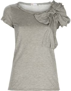 grey shirt with bow - love the fullness of the bow & pleats on the sleeves