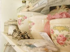All kinds of lovely little crafting treasures tucked away in beautiful vintage containers.
