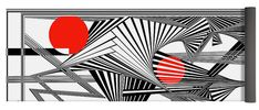 Dynamic Black And White And Red Yoga Mat featuring the digital art Noissimeht by Douglas Christian Larsen