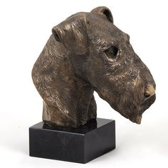 Airedale Terrier dog marble statue limited by ArtDogshopcenter