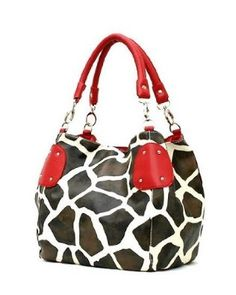 Red Large Vicky Giraffe Print Faux Leather Satchel Bag Handbag Purse --- http://www.pinterest.com.gp1.me/3xu
