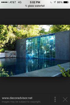 Reflective waterfall wall