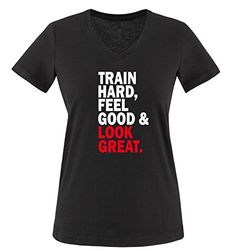 Comedy Shirts - TRAIN HARD & LOOK GREAT - mujer V-Neck T-Shirt camiseta - negro / blanco-rojo tamaño S #camiseta #realidadaumentada #ideas #regalo