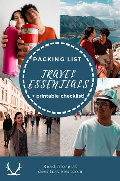 Travel Essentials Packing List for Eco-conscious backpackers. A packing list with affordable and eco-friendly items, with a printable checklist. Road Trip Packing List, Packing Tips, Travel Packing, Travel Backpack, Europe Packing, Traveling Europe, Vacation Packing, Vacation Deals, Backpacking Europe