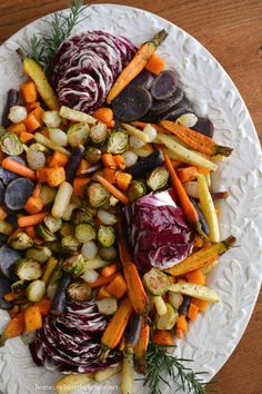 Roasted Harvest Vegetable Salad with Apple Cider Vinaigrette, a healthy and colorful addition to your Thanksgiving feast! | homeiswheretheboatis.net