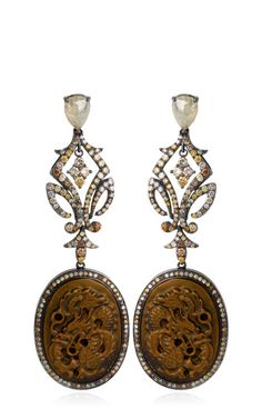 Carved Fossilized Mammoth Dragon And Diamond Earrings by Bochic - Moda Operandi