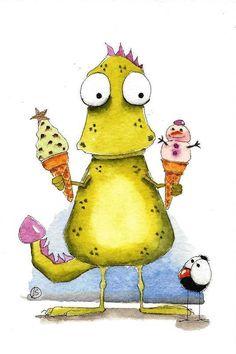 Original watercolor art painting Lucia Stewart whimsy Dragon bird crow ice cream #IllustrationArt