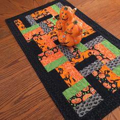 Halloween Table Runner Quilt Orange Black Lime Green