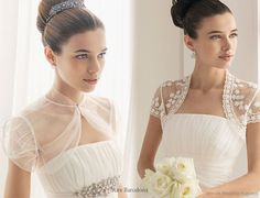 Aire Barcelona - Wedding short sleeve wedding lace and translucent or transparent bolero jacket