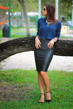 Burgundy leather pencil skirt? Yes. Please! @· ZARA · | Style ...